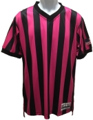 Black & Pink Striped Referee Shirt