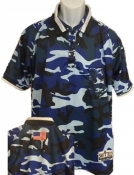 "Blue Digital Camo ""Military Style"" Umpire Shirt"