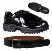 Black Patent Leather Plate & Belt Shoe Combo Package